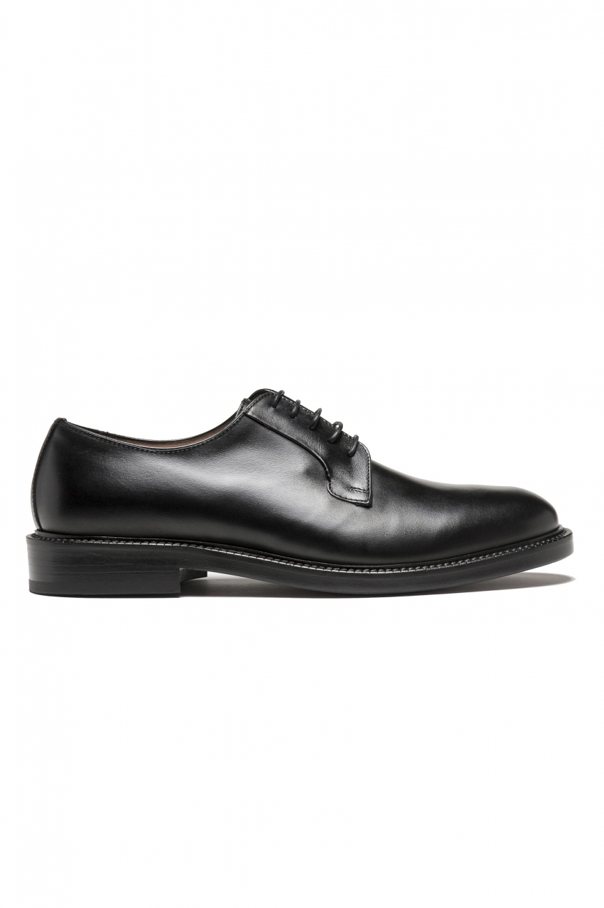 SBU 01502_19AW Black lace-up plain calfskin derbies with leather sole 01