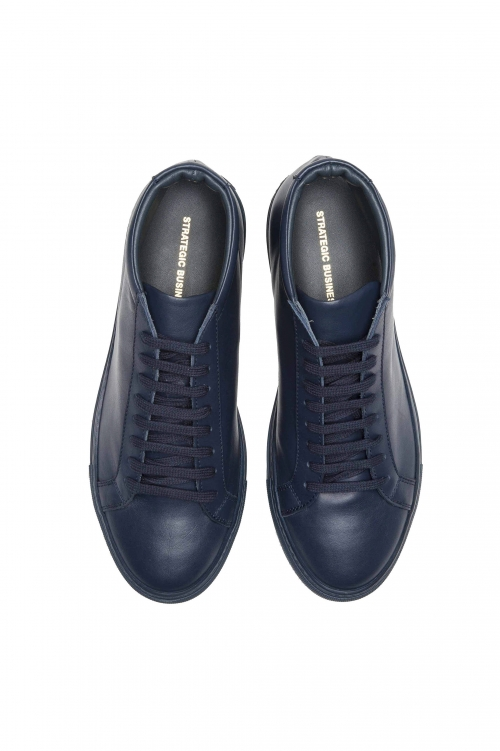 SBU 01522_19AW Mid top lace up sneakers in blue calfskin leather 01
