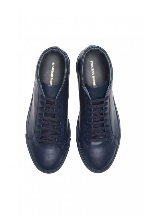 SBU 01522_19AW Sneakers stringate alte di pelle blu 01