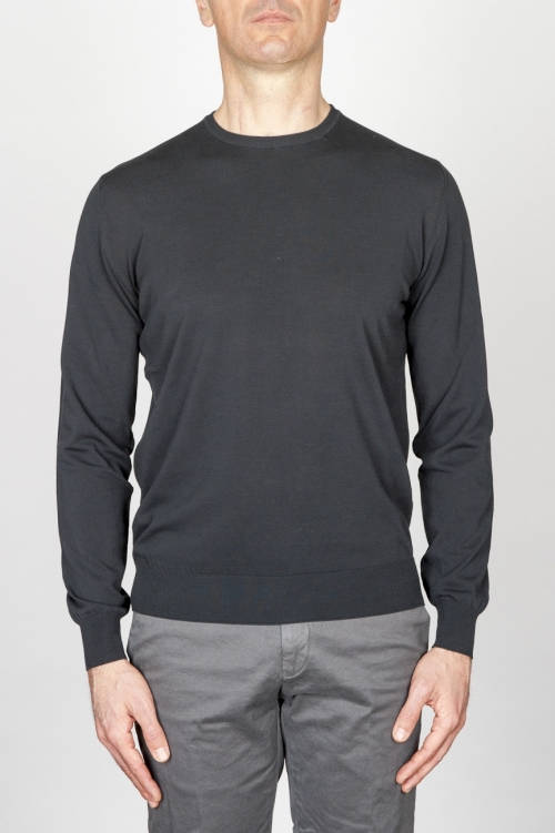Classic Crew Neck Sweater In Black Cotton