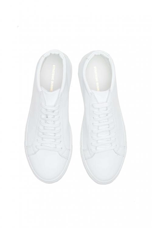 SBU 01523_19AW Sneakers stringate alte di pelle bianche 01