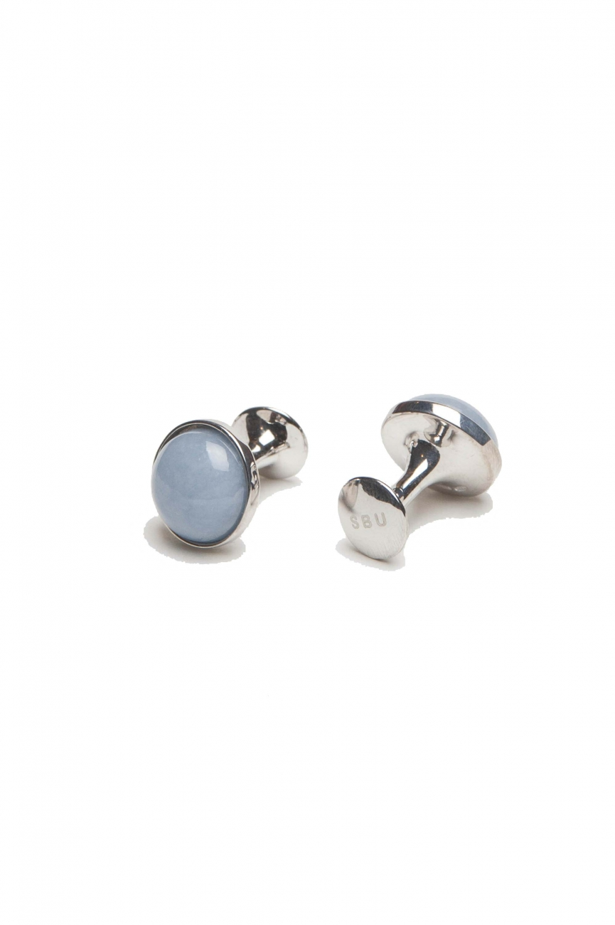 SBU 01009_19AW Classic silver and angelite mineral handmade cufflinks 01