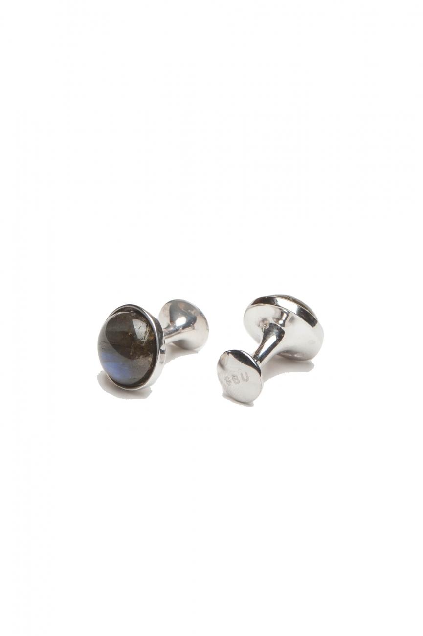 SBU 01012_19AW クラシックな銀とラブラドライトの手作りカフスボタン 01