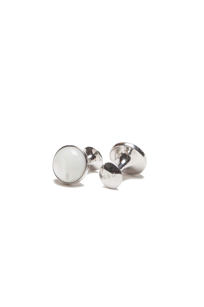 SBU 01014_19AW Classic silver and australian mother of pearl handmade cufflinks 01