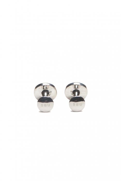 SBU 01016_19AW Classic silver and onyx mineral handmade cufflinks 01