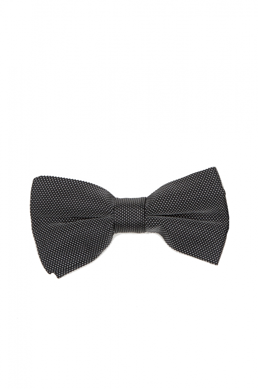 SBU 01031_19AW Classic ready-tied bow tie in grey silk satin 01