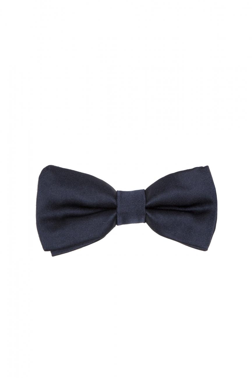 SBU 01032_19AW Classic ready-tied bow tie in blue silk satin 01