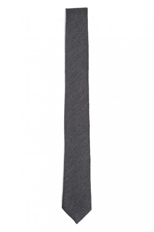 SBU 01570_19AW Cravate classique en laine et soie gris 01