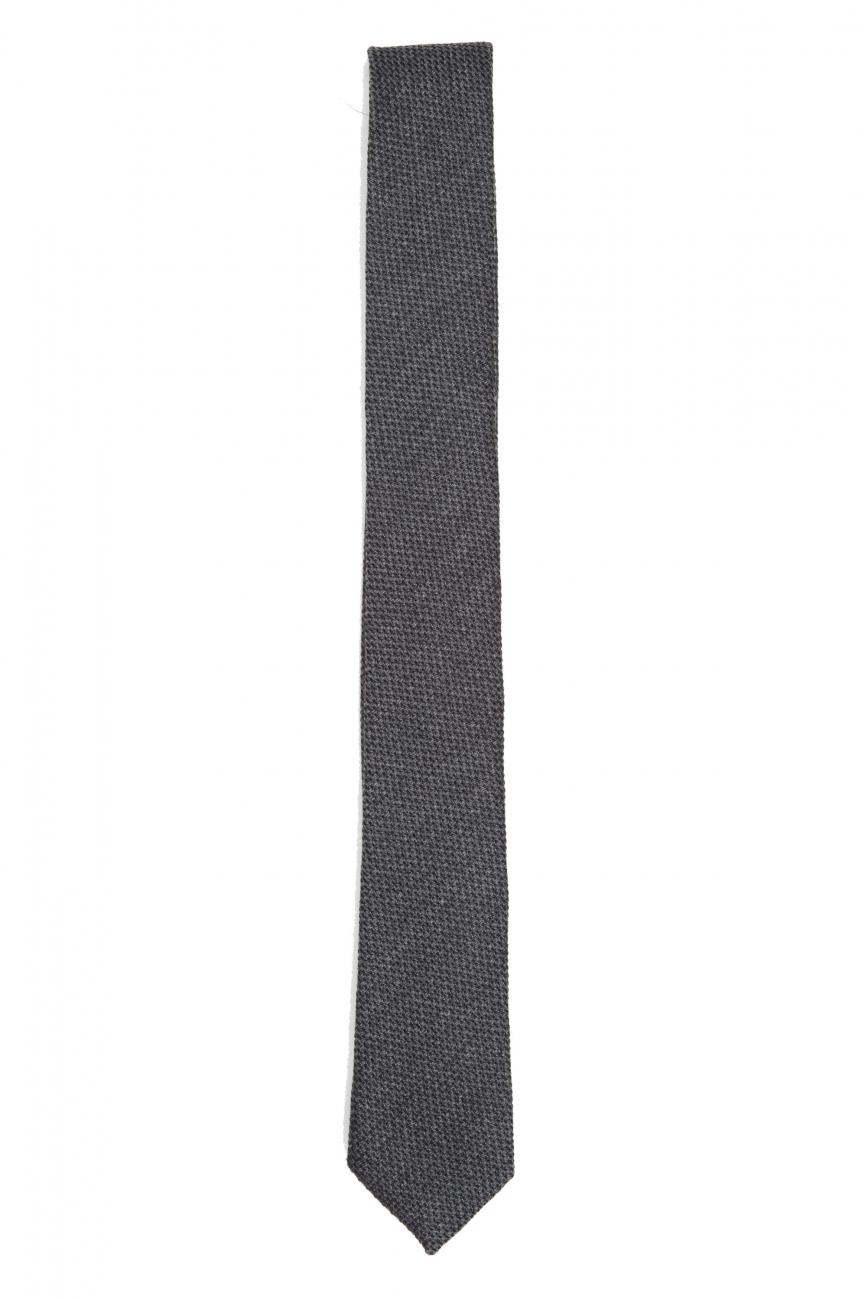 SBU 01570_19AW グレーウールとシルクの古典的な痩せた指のネクタイ 01