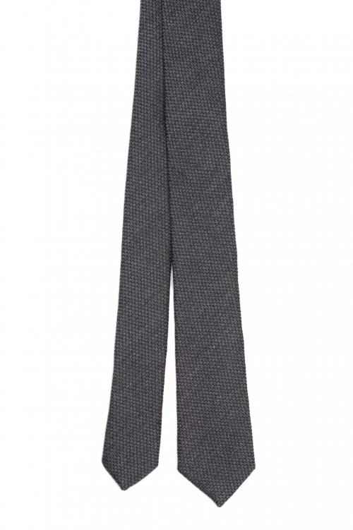 SBU 01570_19AW Corbata clásica de punta fina en lana y seda gris 01