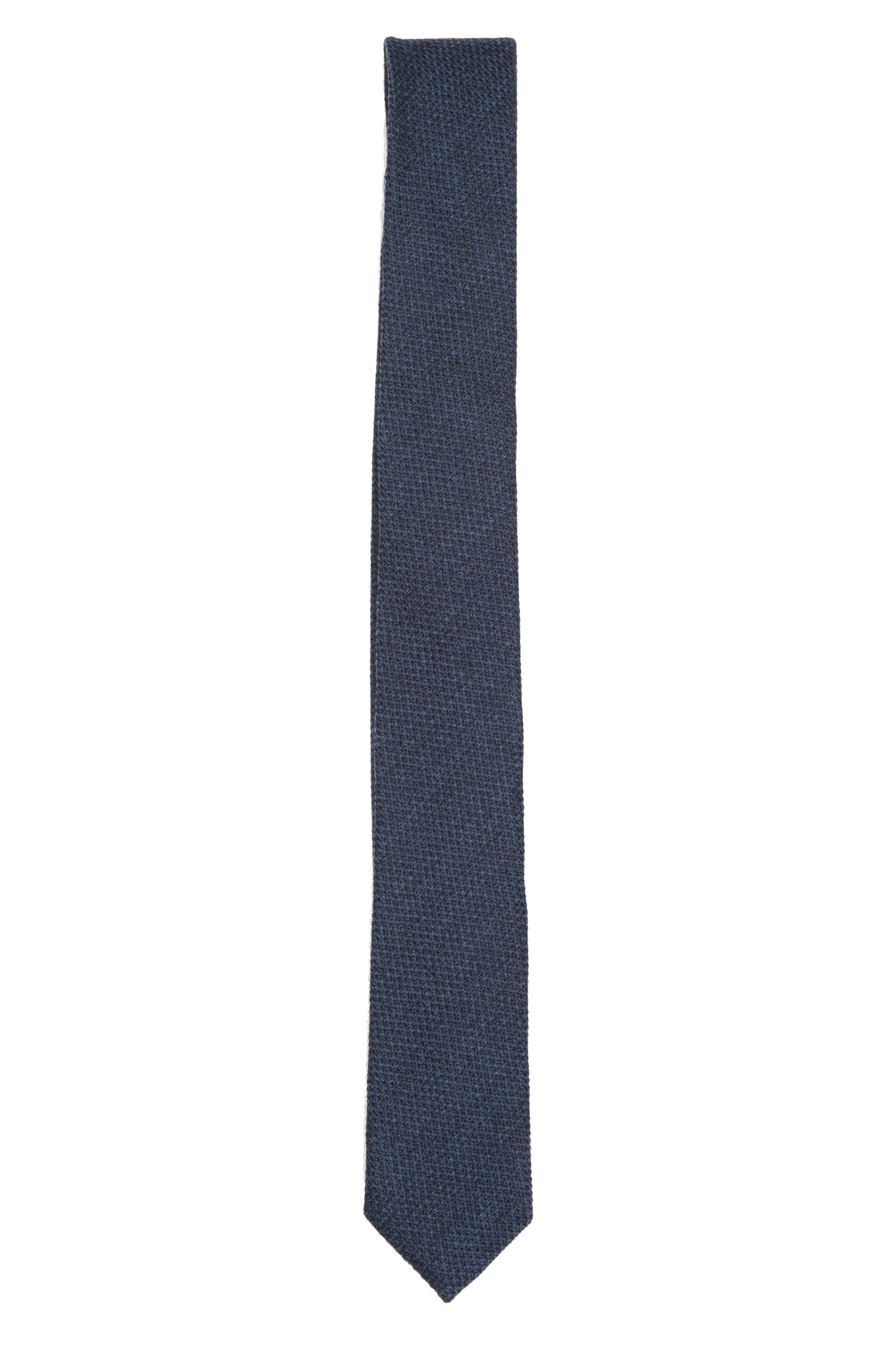 SBU 01571_19AW Classic skinny pointed tie in blue wool and silk 01