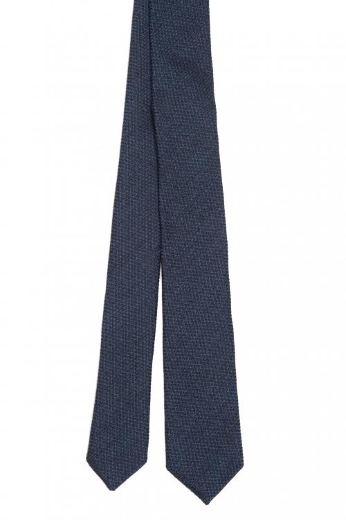 SBU 01571_19AW 青いウールとシルクの古典的な痩せた指のネクタイ 01