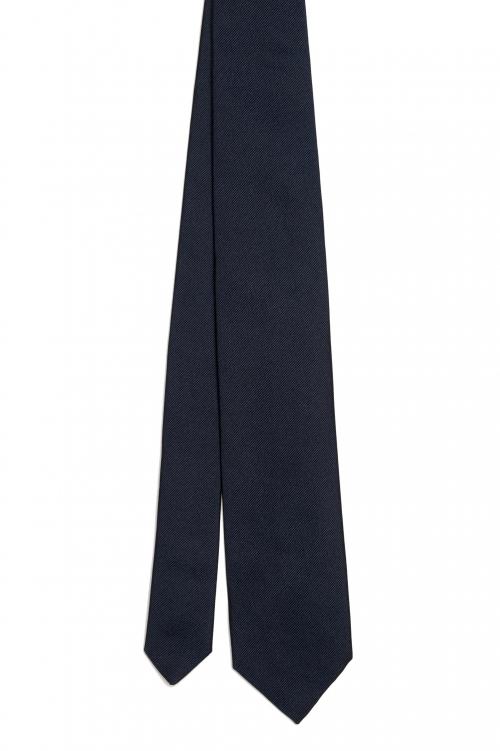 SBU 01572_19AW Cravatta classica skinny in seta nera 01