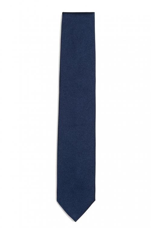 SBU 01574_19AW Corbata clásica de punta fina en seda azul 01