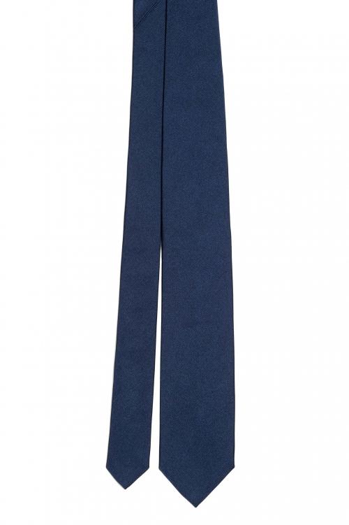 SBU 01574_19AW Cravatta classica skinny in seta blu 01
