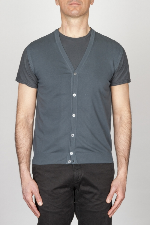 Classic Cotton Knit Grey Sleeveless Cardigan Vest