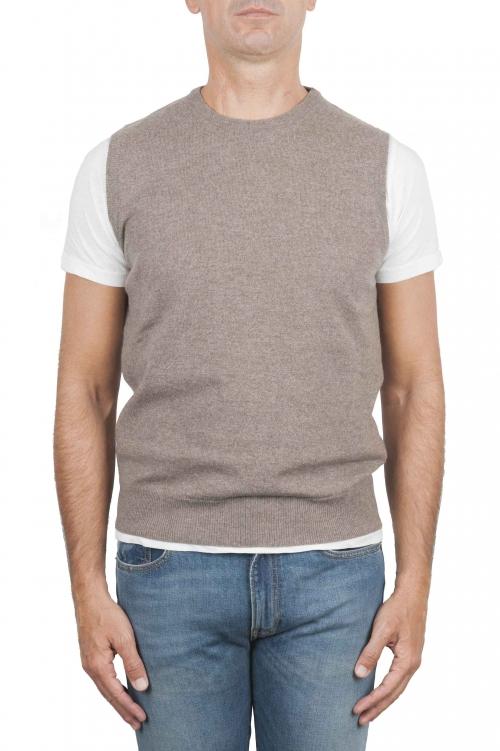 SBU 01483_19AW Maglia gilet girocollo in filato di lana merino e cashmere beige 01