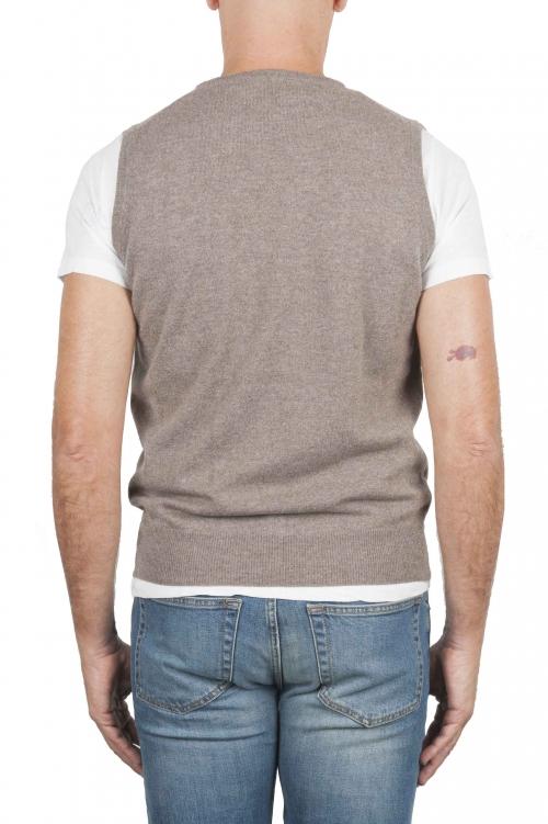 SBU 01483_19AW Beige round neck merino wool and cashmere sweater vest 01