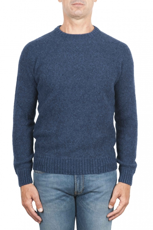 SBU 01468_19AW Blue crew neck sweater in boucle merino wool extra fine 01