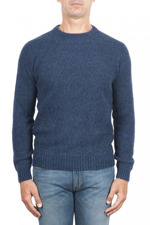 SBU 01468_19AW Pull à col rond bleu en laine mérinos bouclée extra fine 01
