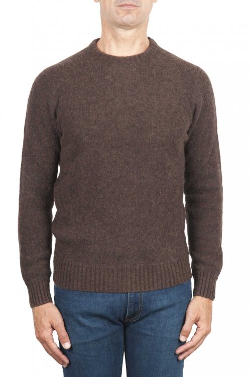 SBU 01469_19AW Suéter marrón de cuello redondo en lana boucle merino extra fina 01