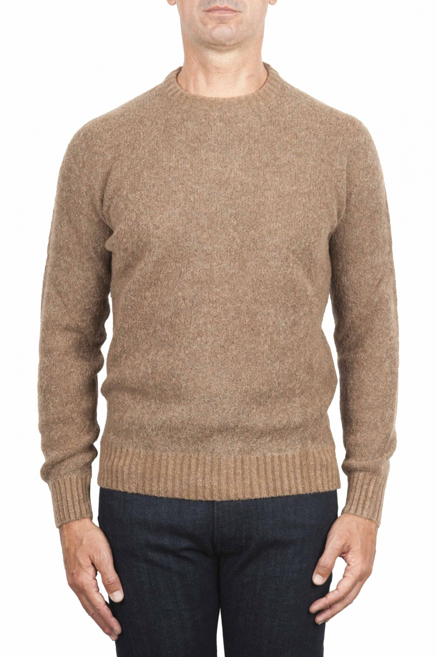 SBU 01470_19AW Beige crew neck sweater in boucle merino wool extra fine 01
