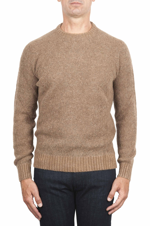 SBU 01470_19AW Pull à col rond beige en laine mérinos bouclée extra fine 01