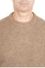 SBU 01470_19AW Pull à col rond beige en laine mérinos bouclée extra fine 04