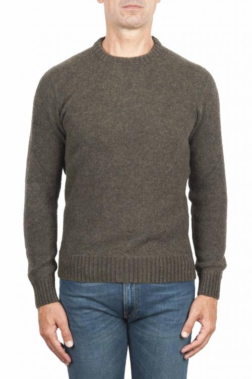 SBU 01473_19AW Green crew neck sweater in boucle merino wool extra fine 01