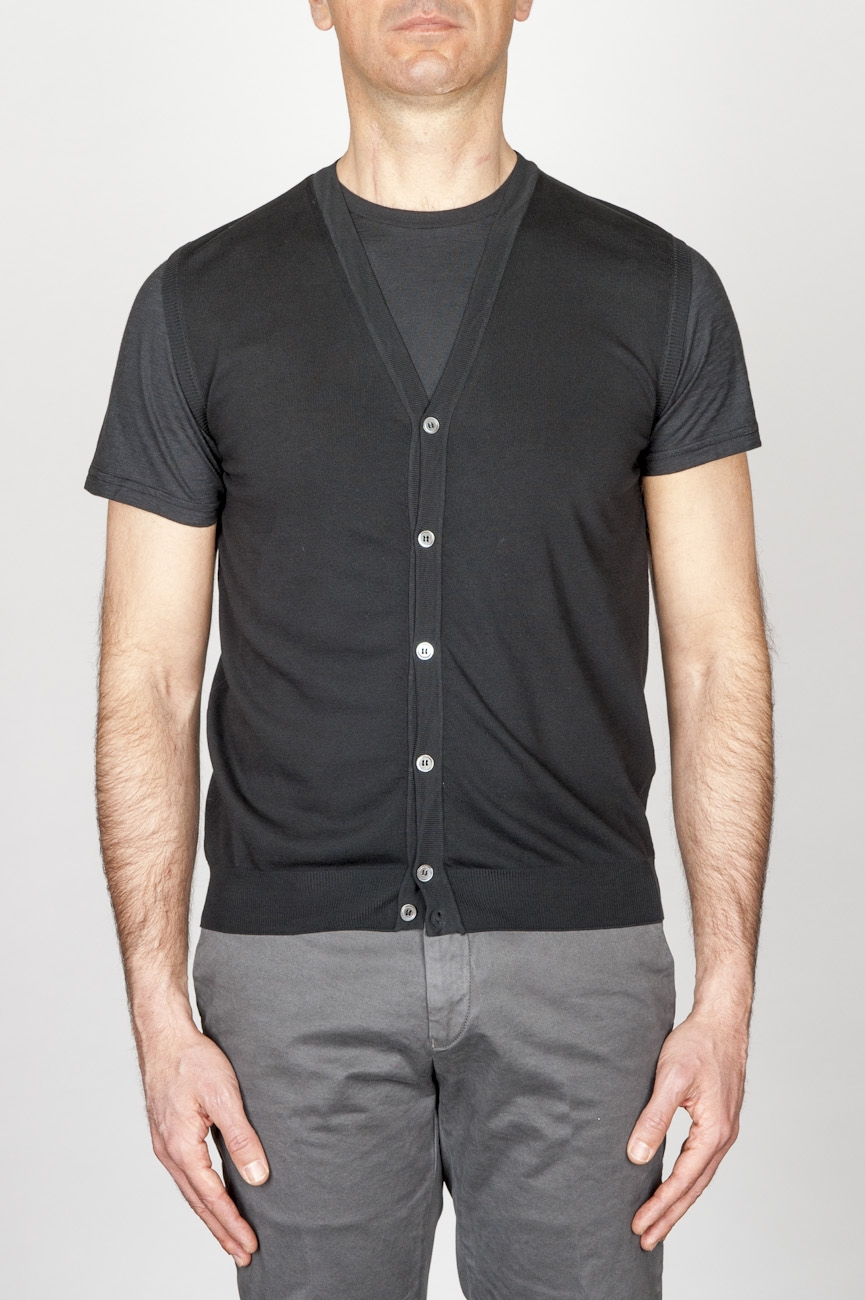 Classic Cotton Knit Black Sleeveless Cardigan Vest
