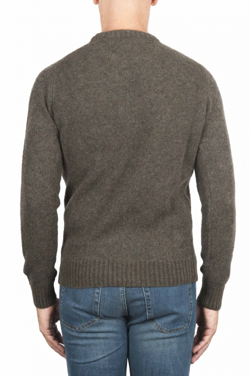 SBU 01473_19AW Green crew neck sweater in boucle merino wool extra fine 01