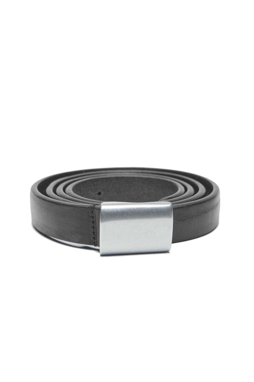 SBU 01238_19AW Cintura militare in pelle nera 2 cm 01
