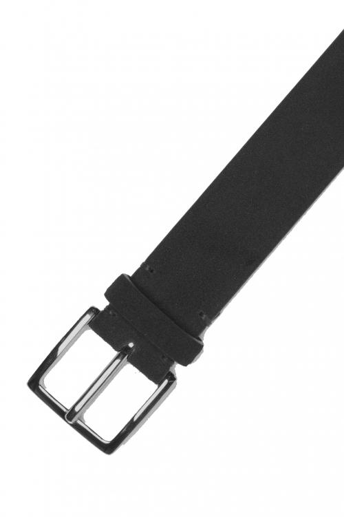 SBU 01240_19AW Cintura classica in pelle scamosciata nera 3.5 cm 01