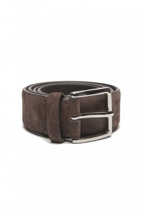 SBU 01241_19AW Clásico cinturón en gamuza marrón 3.5 cm 01