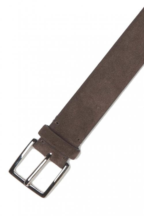 SBU 01241_19AW Cintura classica in pelle scamosciata marrone 3.5 cm 01
