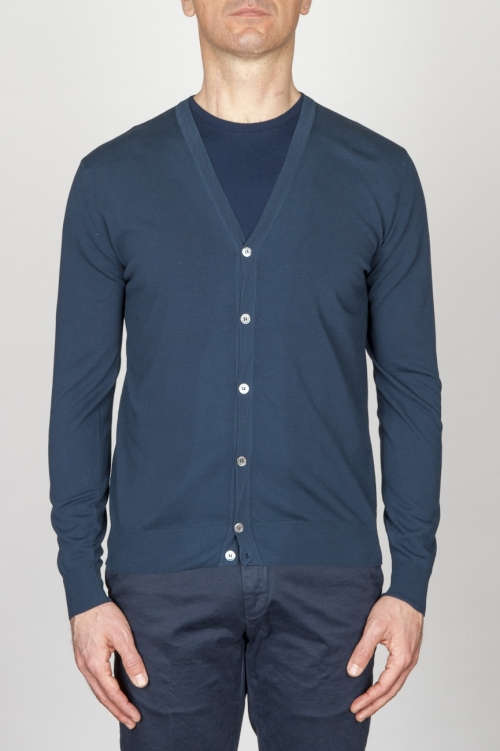 Classic Pure Cotton Knit Blue Cardigan