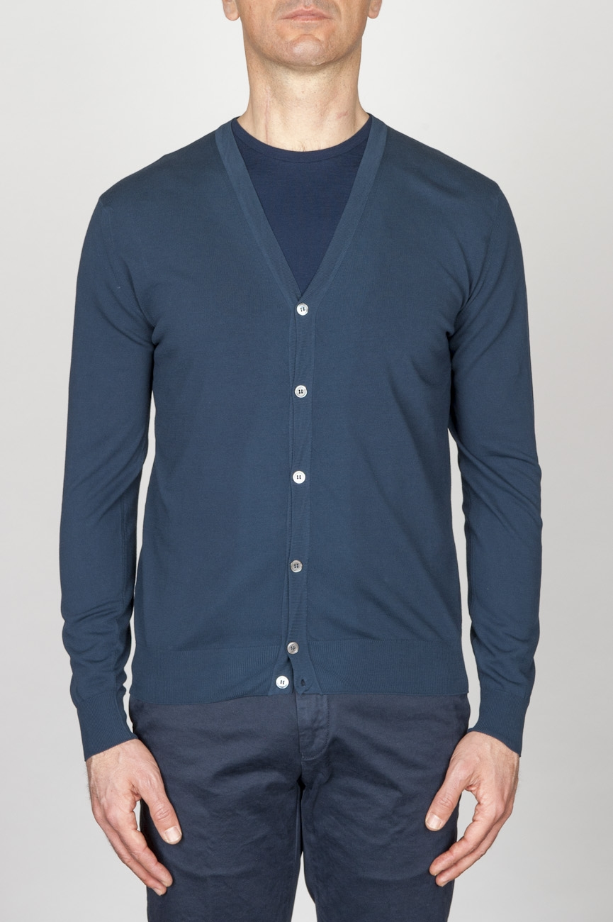 SBU - Strategic Business Unit - Classic Pure Cotton Knit Blue Cardigan
