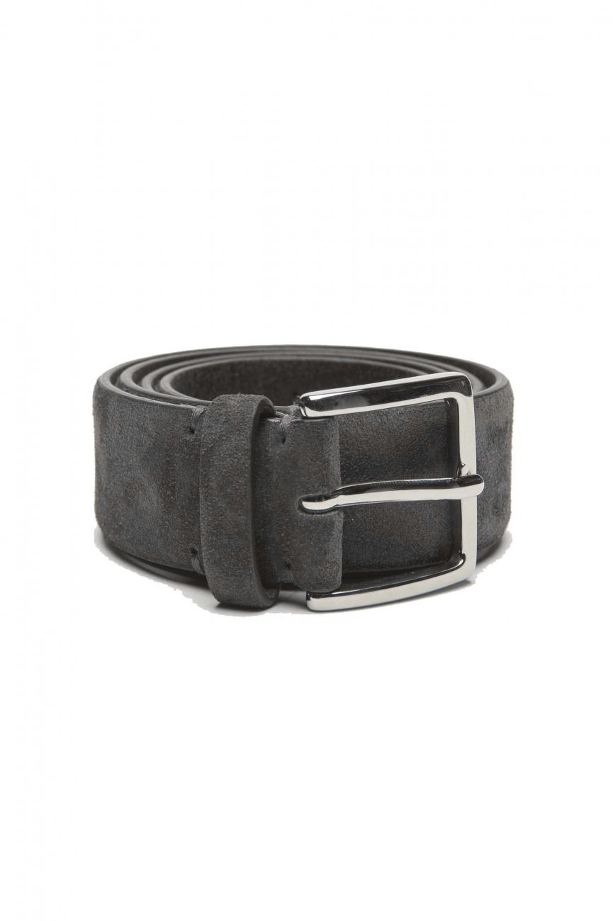 SBU 01242_19AW Cintura classica in pelle scamosciata grigia 3.5 cm 01