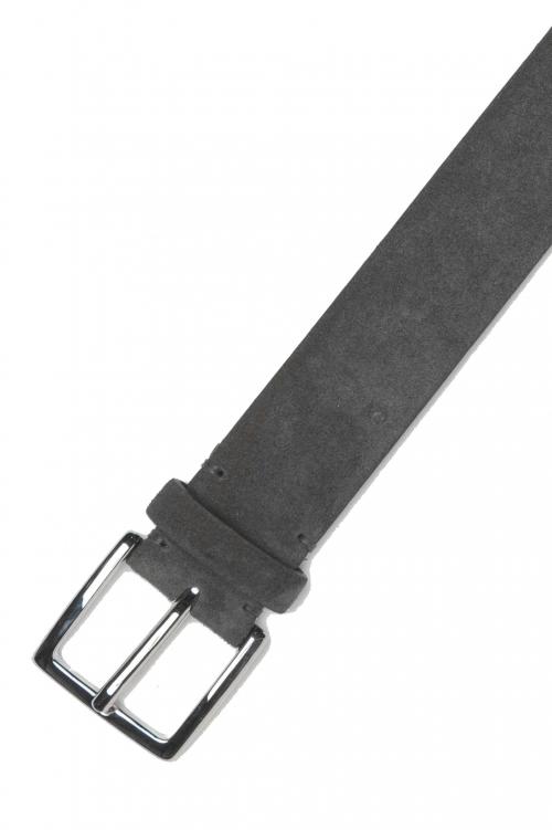 SBU 01242_19AW Clásico cinturón en gamuza gris 3.5 cm 01