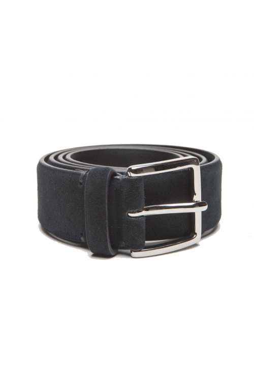 SBU 01243_19AW Cintura classica in pelle scamosciata blue 3.5 cm 01