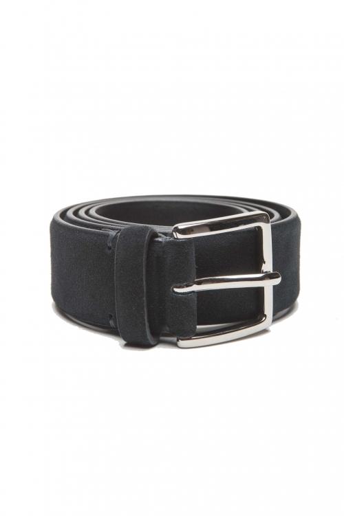 SBU 01243_19AW Clásico cinturón en gamuza azul 3.5 cm 01