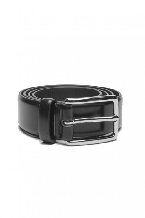SBU 01244_19AW Cintura classica in pelle spazzolata nera 3 cm 01