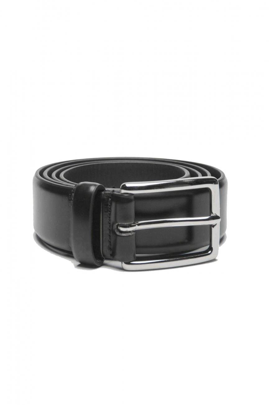 SBU 01244_19AW Ceinture classique en cuir brossé noir 3 cm 01