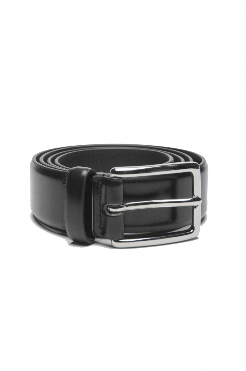 SBU 01244_19AW Classic belt in black brushed leather 1.2 inches 01