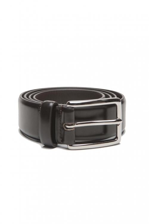 SBU 01245_19AW Cintura classica in pelle spazzolata marrone 3 cm 01