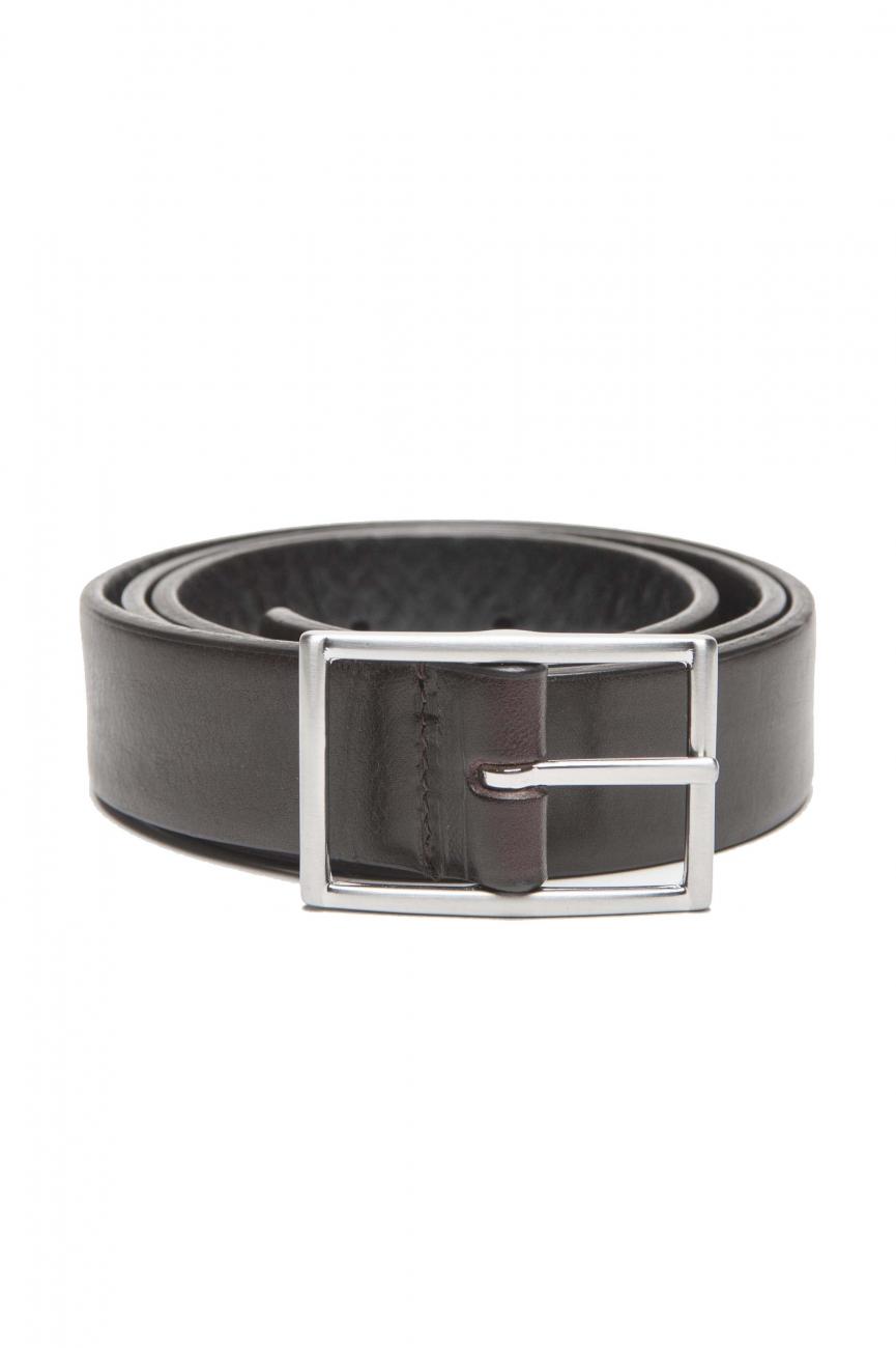 SBU 01246_19AW Cintura reversibile in pelle marrone e nera 3 cm 01