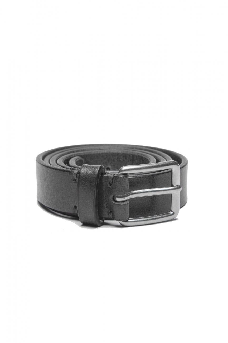 SBU 01250_19AW ブラックカーフスキンレザーのクラシックベルト2.5センチ 01