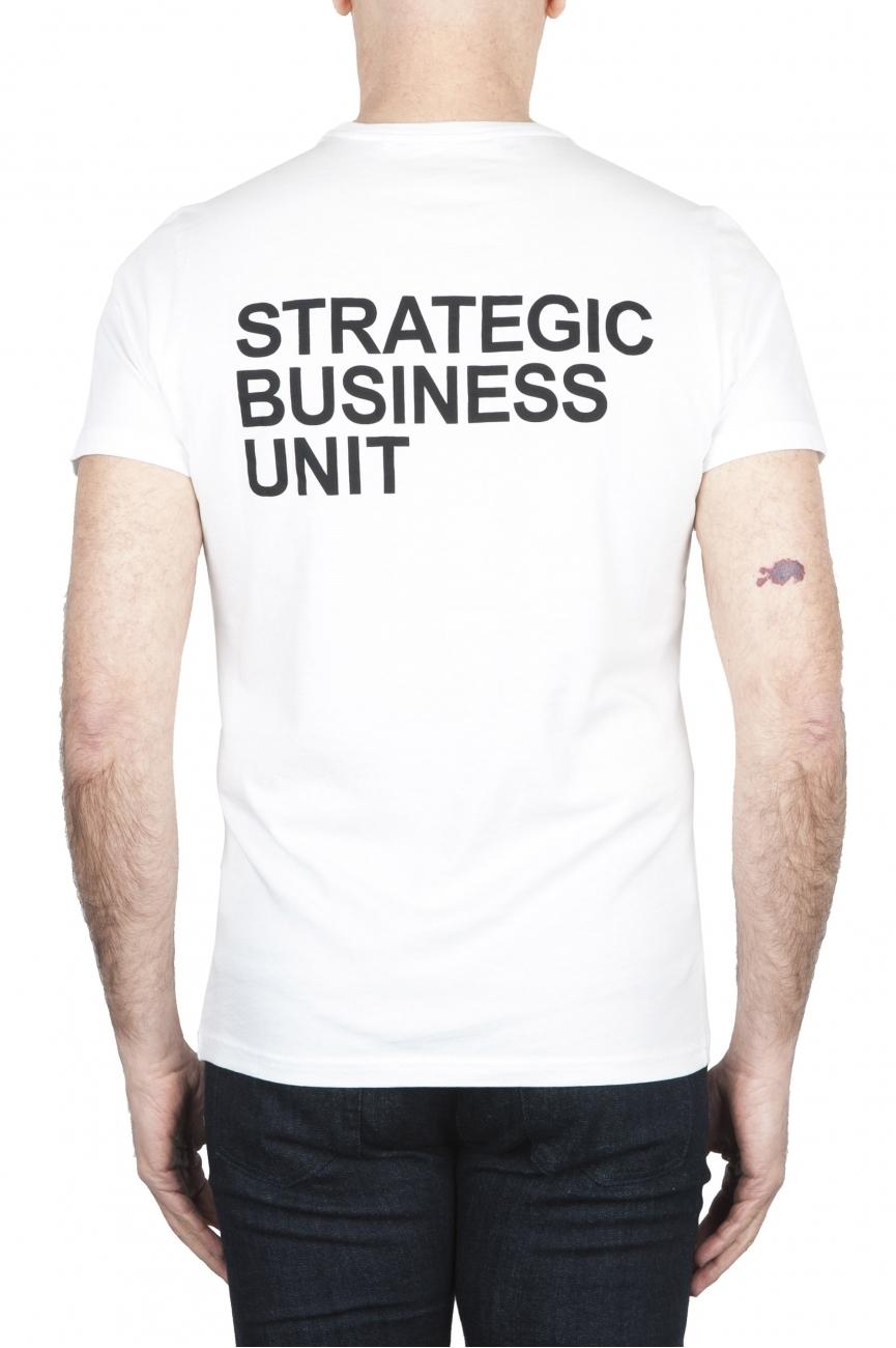 SBU 01792_19AW T-shirt blanc à col rond imprimé à la main 01