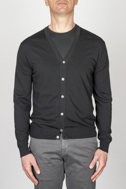 Classic Pure Cotton Knit Black Cardigan