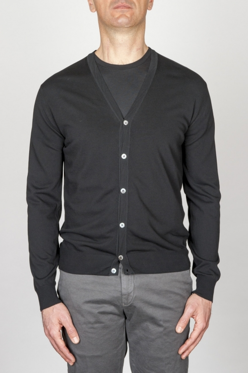 Classic Pure Cotton Knit Black Cardigan